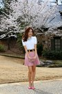 Studded-valentino-shoes-blouse-zara-shirt-chanel-skirt-gucci-belt