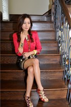 Bebe jacket - Christian Louboutin shoes - Bebe skirt