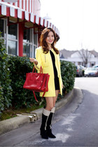 Zara coat - Derek Lam boots - vince dress - Prada bag