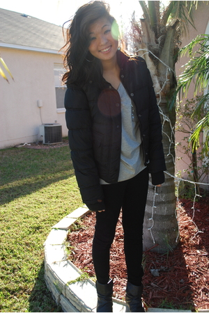 black Aeropostale jacket - gray Forever 21 top - black Forever 21 jeans - black
