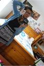 Black-aeropostale-top-black-american-apparel-skirt-blue-forever-21-shirt