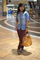 bag - maroon pants - denim polo top