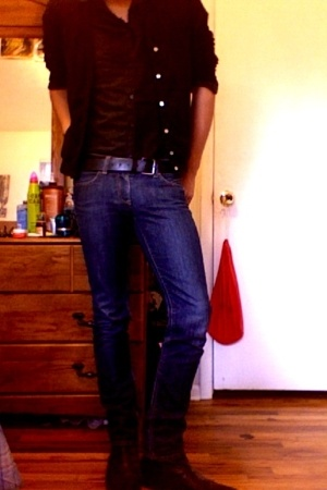 American Apparel sweater - Guess boots - Seven For All Mankind jeans - Express M
