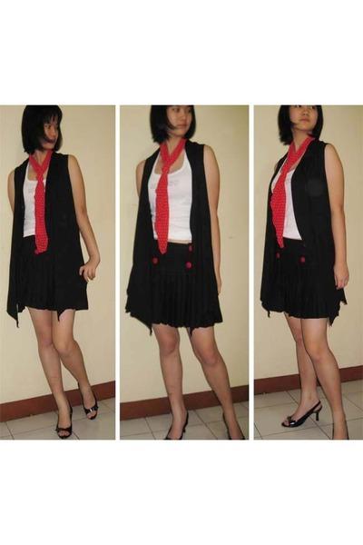 Zara vest - Topshop scarf - Topshop skirt - Mango top - charles&keith shoes