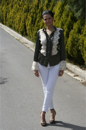 cashmere Max Mara blazer - silk- lace rococo shirt - Massimo Dutti pants - Max M