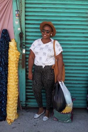 shirt - camel wool hat - torrid leggings - Urban Outfitters loafers