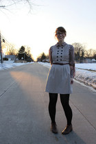 brown grannie boots thrifted shoes - beige reporter dress Ruche dress - brown we