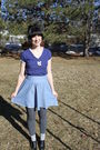 Blue-thirfted-top-blue-alloy-skirt-gray-payless-tights-gray-target-socks-