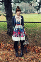 violet borrowed dress - heather gray Forever 21 cardigan - dark brown Bongo boot