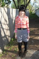 orange American Eagle shirt - black Forever 21 belt - gray Salvation Army skirt