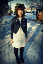 dark green DIY hat - off white Target dress - black doc martens boots