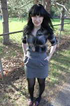 brown Urban Outfitters dress - gray Forever 21 skirt - black CVS tights - red al
