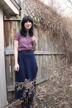 purple American Eagle top - brown Forever21 belt - blue thrifted skirt - brown S