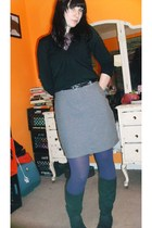 purple American Eagle shirt - black Express sweater - gray thrift skirt - purple