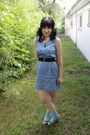 Blue-thirfted-dress-blue-target-socks-green-target-shoes-black-forever-21-