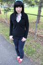 Blue-forever21-shirt-black-express-sweater-pink-thrifted-tie-blue-forever-