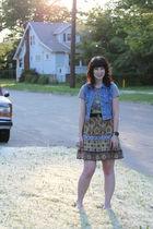 gold Forever 21 skirt - blue thrifted vest - gray tmnt Hot Topic t-shirt