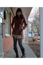 red vintage jacket - beige Forever 21 dress - Target tights - brown sears boots