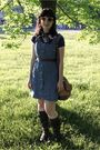 Blue-thrifted-top-blue-thifted-dress-brown-thifted-purse-brown-sears-boots