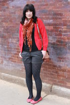 red thrfited sweater - black Target t-shirt - gray Forever 21 shorts - brown thr