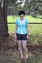 white kohls shirt - blue Target cardigan - gray Forever 21 shorts - red payless