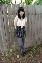 white Forever 21 shirt - gray Forever 21 skirt - gray payless tights - black pay