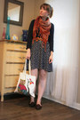 Navy-american-eagle-sweater-brown-thrifted-scarf-eggshell-owl-forever21-bag