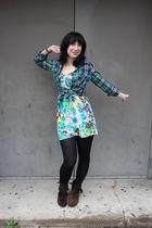 green Forever 21 shirt - green Target dress - black CVS tights - brown Forever 2