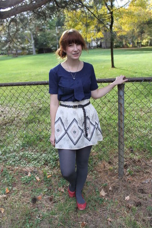 blue borrowed top - beige borrowed skirt - charcoal gray payless tights - ruby r
