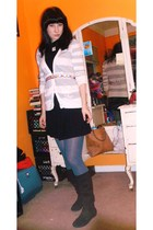gray American Eagle cardigan - black Forever 21 dress - blue Target tights - bla