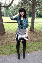 green Forever 21 shirt - black Kmart top - black pitaya skirt - black payless sh