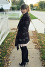 Light-pink-pleated-modcloth-dress-dark-brown-plaid-gift-coat