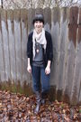 Beige-target-scarf-gray-borrowed-top-black-thrifted-cardigan-blue-forever-