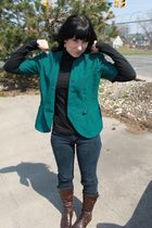 green thirfted jacket - black Target top - blue Forever 21 jeans - brown sears b