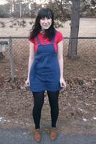 red Target t-shirt - blue Forever 21 dress - black Target tights - brown Etsy sh