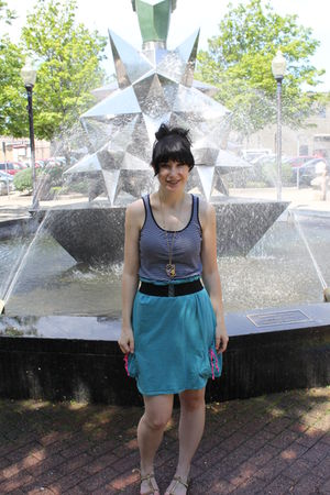 blue Meijer top - blue Target skirt - gold American Eagle shoes - gold Forever 2
