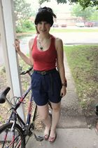 red Target top - blue thrifted shorts - green Target shoes - gray Forever 21 bel