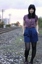 purple American Eagle blouse - brown Forever 21 belt - blue thrifted shorts - bl