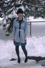 Blue-borrowed-shirt-blue-thrifted-dress-blue-forever-21-belt-gray-payless-