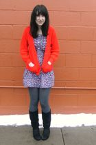 red vintage cardigan - blue Kmart dress - gray payless tights - black payless bo