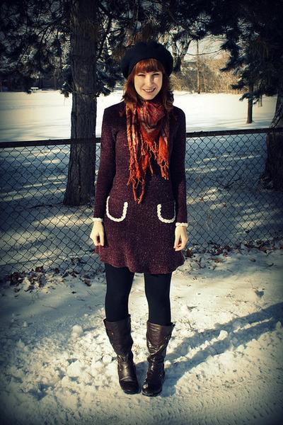 dark brown vintage scarf - dark brown Bongo boots - magenta handmade dress