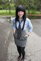 blue thrifted top - black Hot Topic accessories - gray thrifted tie - gray Forev