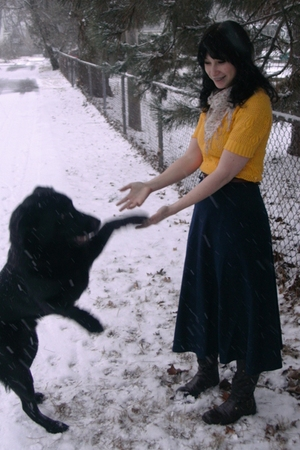 yellow vintage sweater - blue thrifted skirt - brown sears boots - beige Target