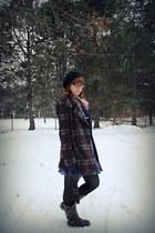 dark brown Bongo boots - purple plaid gift dress - dark brown plaid gift coat -