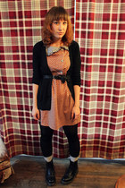 black doc martens boots - orange patterned modcloth dress - black CVS tights - h