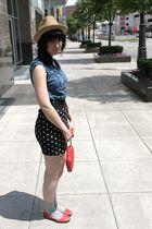 beige Target hat - blue Forever 21 shirt - black Forever 21 skirt - gray Target