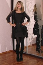 dark gray H&M dress - black suede Aldo heels - dark gray H&M vest - black leathe