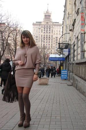 beige asos dress - brown reserved bag - light brown asos socks - light brown Gab