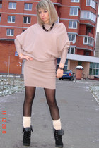asos dress - black asos shoes - beige gypsy socks - no name necklace