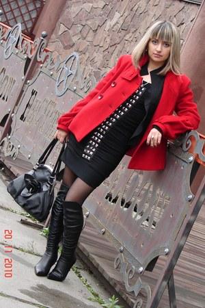 black Gloria Jeans dress - black Gloria Jeans blazer - black shoes - black tight